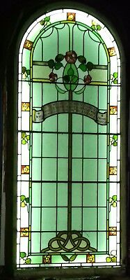 Large Arched, Leaded Stained Glass Church Window