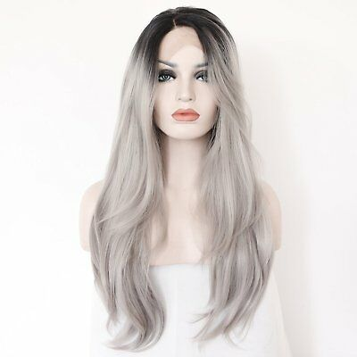 K'ryssma Grey Ombre Black Roots Natural Straight Wig Synthetic 22inch