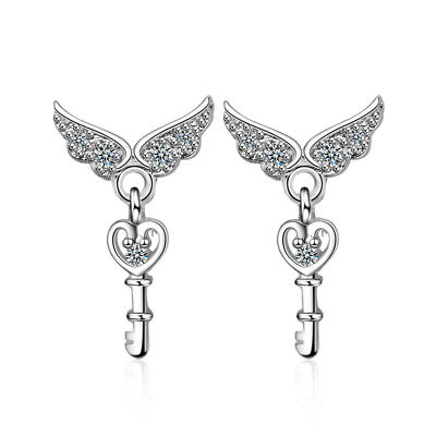 New Style 925 Sterling Silver Angel Wings Key Earrings Women Christmas Gift