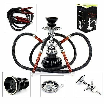 Hookah 2 Hose Glass Water Pipe Vase Tobacco Shisha Nargile Smoking Bong Set New