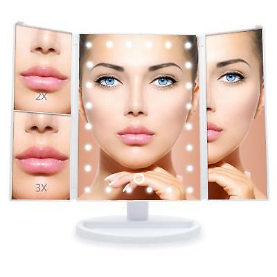 24 LED Tri-Folded 1X 2X 3X  Makeup Mirror Touch Screen Desktop Mirror