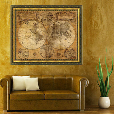 2BCD Vintage Nautical Navigation Map Cloth Canvas Poster Oil Painting Decor Mura