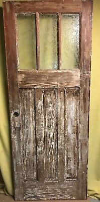 Unique Antique Craftsman Wood Exterior Entry Door Glue Chip Glass 32x80 3 Pane