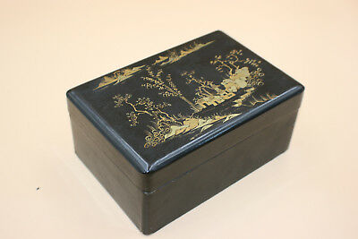 Antique Chinese Wooden Lacquer Gilt Painted Landscape Small Trinket Box
