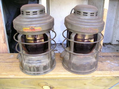 2 NOS RARE Matched Antique Pair LUCK E LITE Utility TRUCK Kerosene Safety Lamps