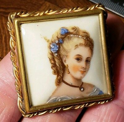 Beautiful Vintage Limoges France Hand Painted Porcelain Brooch Pin of Woman