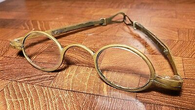 Beautiful Early Pair of Unique 1700-1800's Adjustable Brass Eyeglasses