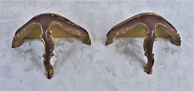 Pair of Vintage Italian Florentine Carved Gilt Gold Wood Wall Sconce Shelves