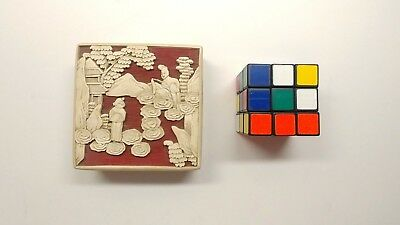 Antique Chinese Carved White and Red Lacquer Trinket Box