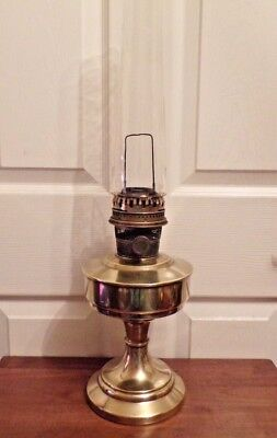 Rare Super Aladdin slim brass font base Oil Lamp  with chimney working order