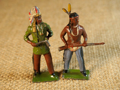 2  Original  vintage   Britains standing indians    with rifle and hatchet