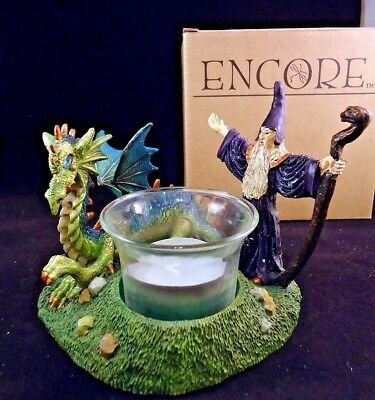 Encore Collectible Dragon & Wizard Votive Candle Holder New In Box-a4