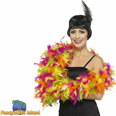 Deluxe Feather Boa Neon MultiColoured Neon Various Womens Fancy Dress Accessory