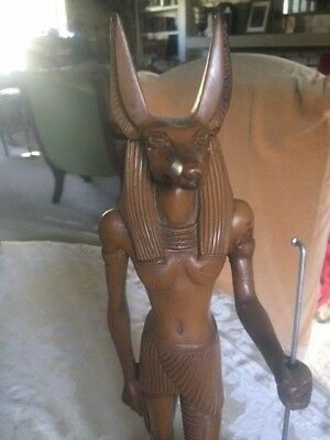 Beautiful Tall Statue Anubis Brown Ancient Egyptian God Figure 16 inch fr Egypt
