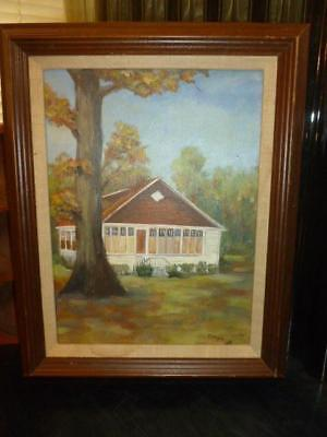 """Vintage Country Lake Cabin Cottage 9"""" X 12"""" Canvas Wood Painting Frame Signed"""
