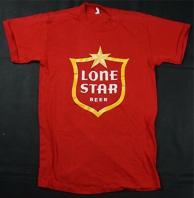 Rare Vintage Lone Star Beer OG Logo T Tee Shirt 70s 80s 90s Texas Red READ MSMTS