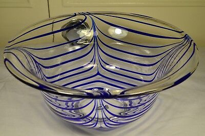 "Vintage Large Art Glass Bowl Blue Spider Web Pattern Hand Blown Marked ""M"""