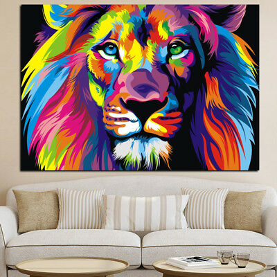 Colorful Lion Animal Modern Oil Painting Picture Art Print Wall Decor Unframed