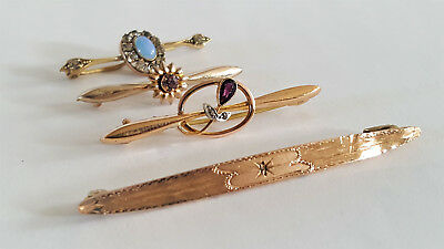 Job Lot Of 4 Antique Victorian Brooshes Pin With Stones