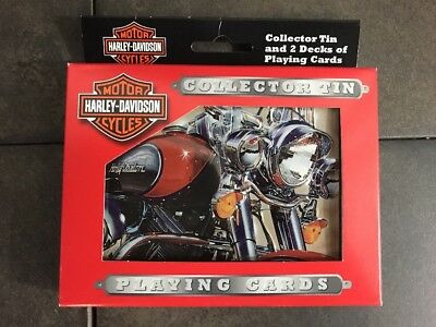 Unopened New Harley Davidson Playing Cards Collectors Tin 2 pack