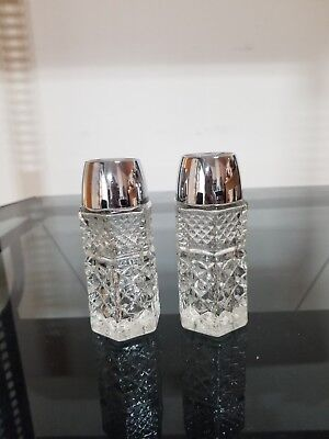 Antique, Clear Cut Glass, Crystal, Hexagon Salt & Pepper Shakers