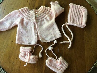 Vintage 1960's Handmade Baby Sweater Set ~ Pink