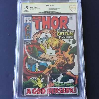 1969 Marvel Comics THE MIGHTY THOR #166 CBCS 0.5 SS Signed STAN LEE INCOMPLETE