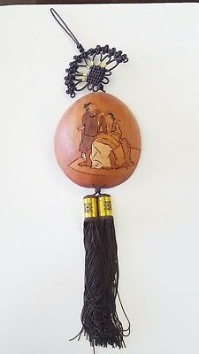 Asian Oriental Hand Carved Decorated Gourd Wall Hanging Tassels Knot Vintage