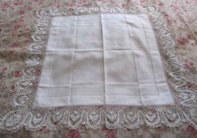Antique Cream Linen Lace Tablecloth New Old Stock - Saleman's Samples 1900's