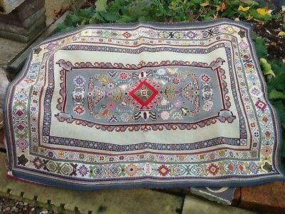 Large Antique Woolwork 45 X 33 Inches Vgc Vintage Laura Ashley Backing Fabric.
