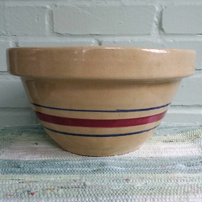 Robinson Ransbottom RRP Roseville Ohio Yellowware Pottery Mix Bowl Red Blue