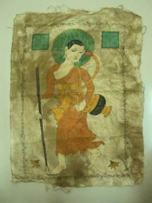 Pha Yant Siwalee Monk Talisman Cloth Hand Drawing Painting Charm old Thai Amulet
