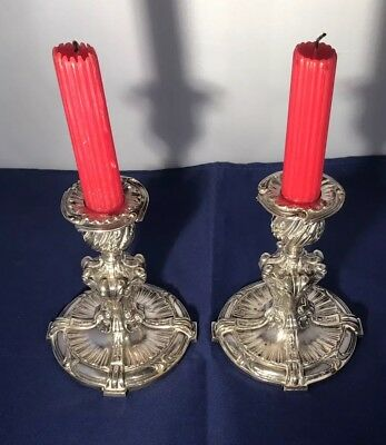 Vintage Antique Estate French Christofle Pair Of Silver Plate Candle Holders