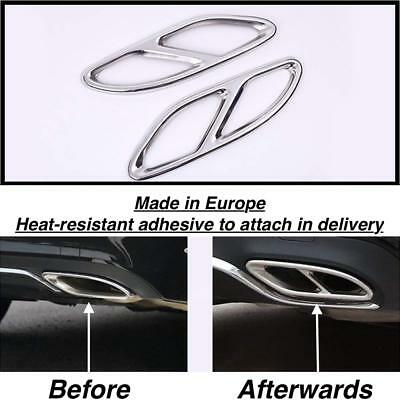 Left + Right Chrome Exhaust Pipe Cover Trim Decor for Mercedes A-Class W176 (GR