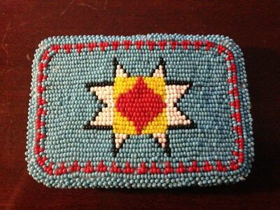 NORTHERN CHEYENNE NATIVE AMERICAN BEADED BELT BUCKLE by Nora Flying BEAUTIFUL !!