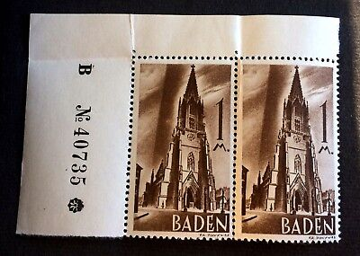 French Zone in Germany - Baden 1947 - 2 top mint stamps 1 Mark