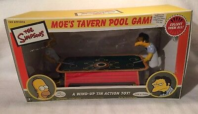 """The Simpsons """"Moe's Tavern"""" Pool Game Collectors Item Tin Wind Up Action Toy New"""