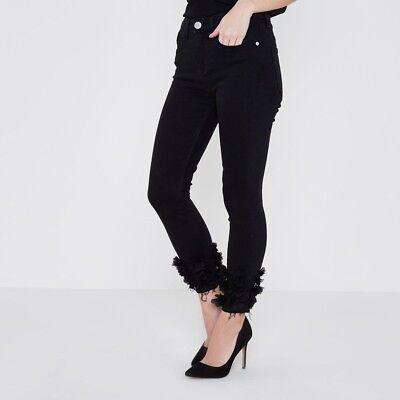 Size 10 River Island Amelie Black Skinny Jeans With Flower Detail