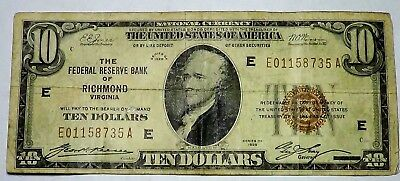 Series 1929 Brown Seal $10 Federal Reserve Bank of Richmond Virginia