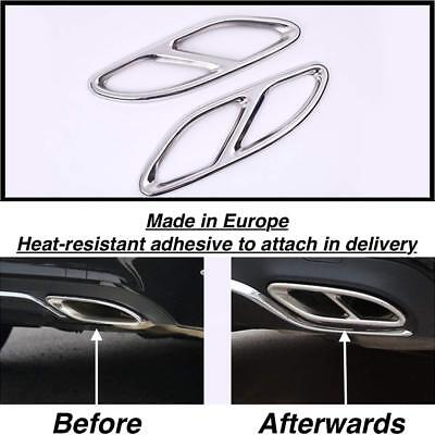 Left+Right Chrome Exhaust Pipe Cover Trim Decor Mercedes C-Class S205 Estate (GR