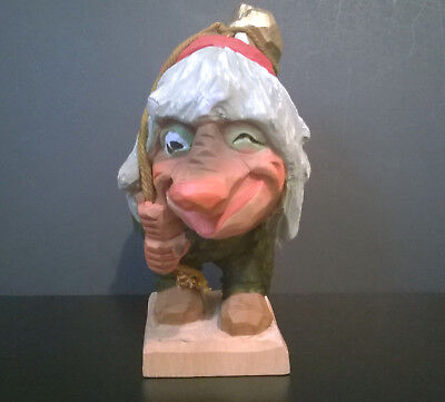 """Vintage Henning Carved by Hand in Norway Wooden Norwegian Troll 8"""" Rare"""