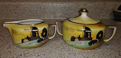 Vtg Hand Painted Meito China Creamer & Sugar Bowl Windmill House Barn Trees EXC