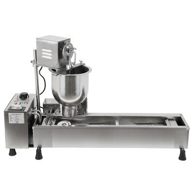 3KW Commercial Automatic Donut Fryer Maker Machine Wide Oil Tank W/3 Sets Mold