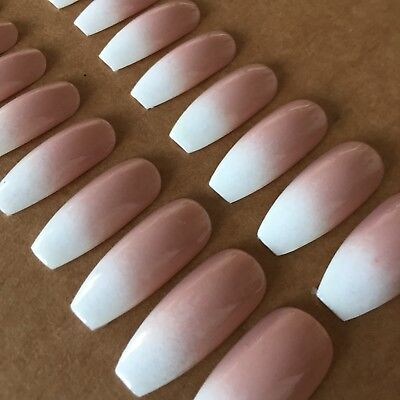 Ombre french Extra Long Coffin/Ballerina Style False Nails