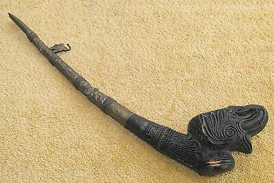 Vintage India Ceremonial Smoking Pipe Hand Carved Stone / Brass Collectible