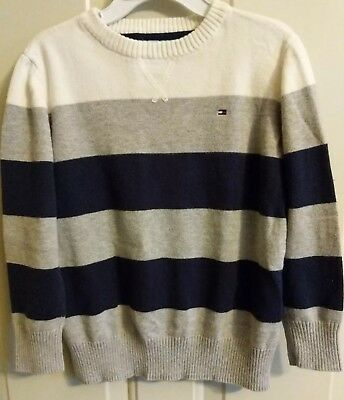 Tommy Hilfiger Boy Striped Sweater (White/Gray/Navy Blue) Size 5