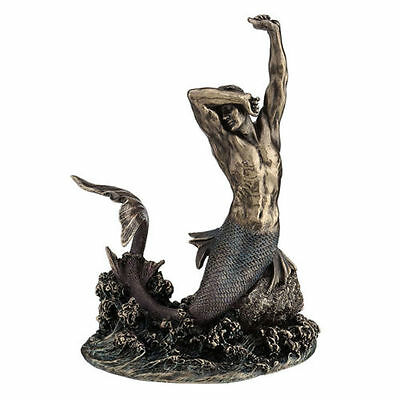 "7.5"" Merman Stretching on Rock Statue Male Mermaid Figure Sculpture Home Decor"