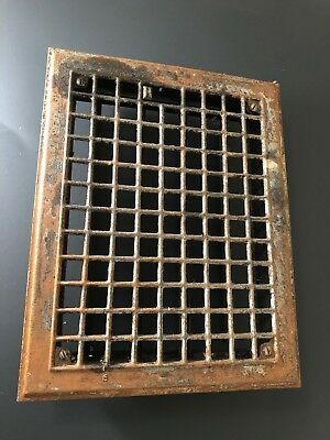 N 24. Antique Sheet Metal Floor Heating Grate  With Fins