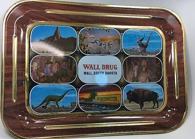 Vintage Wall Drugs Metal Tray Wall SD Mt Rushmore Jackalope Dinosaur Drug Store