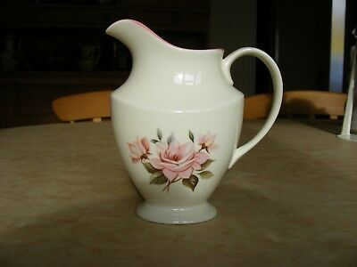 Royal Vale Bone China Milk Jug /  Cream With Pink Roses And Pink Rim/pretty